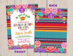 Graduation Mexican Fiesta Invitation, Serape Blanket invite ...