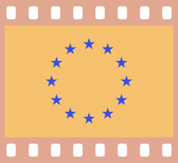 Clipart - Flag of Europe in a 35 mm film frame (negative)
