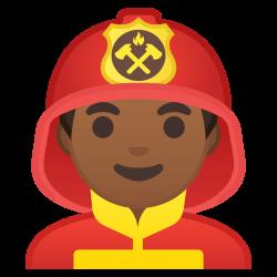 Man firefighter medium dark skin tone Icon | Noto Emoji People ...