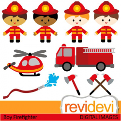 Firefighter cliparts. Boys in firefighter costume, and ...