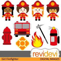 Firefighter cliparts. Girls in firefighter costume. These ...