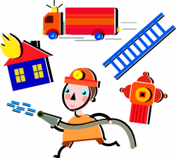 Fireman Fights House Fire - Vector Image