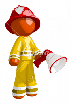 Orange Man Firefighter Posing with Megaphone - Photos by Canva