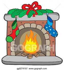 Drawing - Christmas fireplace with stockings. Clipart ...
