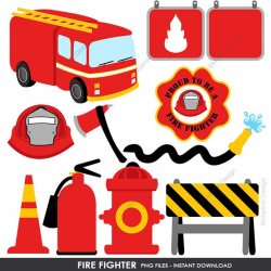 Fire Fighter Clipart, Fire truck Clip Art, Rescue Graphics for Birthday  Party Invitations Scrapbook INSTANT DOWNLOAD CLIPARTS C61