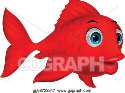 EPS Illustration - Cute red fish cartoon. Vector Clipart ...