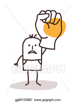 Drawing - Cartoon man saying no with raised fist. Clipart ...