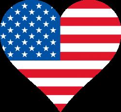 Clipart - Stars and Stripes heart shaped, USA heart flag