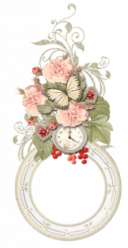 FLORAL WITH CLOCK AND BUTTERFLY FRAME | FRAMES / BORDERS / CORNERS ...
