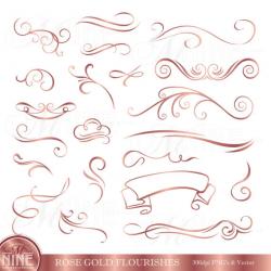 Rose Gold FLOURISHES Clip Art / Vintage Flourish Clipart