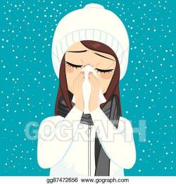 Vector Stock - Winter flu blowing nose. Stock Clip Art ...