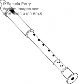 Black and White Clip Art Illustration of a Recorder Flute