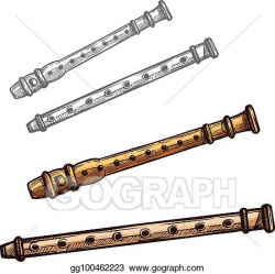 Vector Illustration - Wooden flute or pipe folk music ...