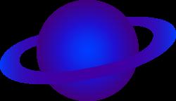 Blue Alien Ringed Planet - Free Clip Art