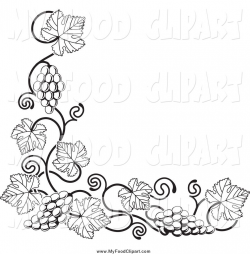 Food Clip Art of a Black and White Grape Vine Corner Border ...