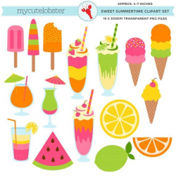 Sweet Summertime Clipart Set - ice cream, summer, milkshakes ...