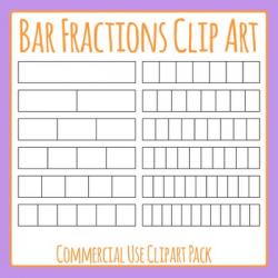 Bar Fractions or Strip Fractions Clip Art Set for Commercial Use