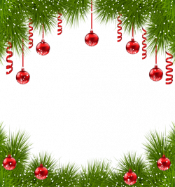 Christmas Transparent PNG Frame with Red Ornaments | Christmas ...