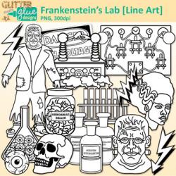 Frankenstein Halloween Clip Art: Holiday Graphics B&W {Glitter Meets Glue}