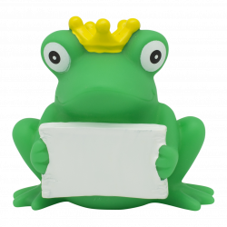 LILALU - SHARE HAPPINESS - Rubber duck frog with greeting sign ...