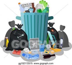 EPS Vector - Steel garbage bin full of trash. Stock Clipart ...