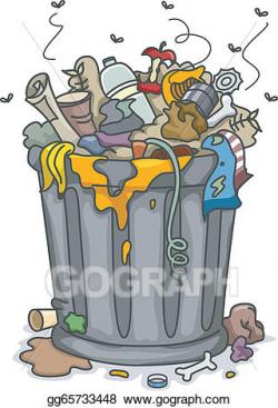 Clip Art Vector - Overflowing trashbin . Stock EPS ...