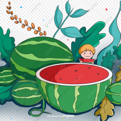 Cartoon Hand Painted Green Watermelon Garden, Cartoon ...