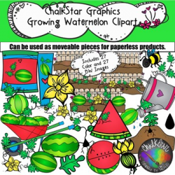Garden Clip Art- How to Grow Watermelon by Chalkstar Graphics