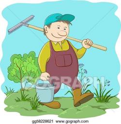 Vector Stock - Gardener with bucket and rake in garden ...