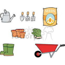 Gardening Tool Set clipart. Royalty-free clipart # 379860