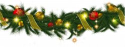 Transparent Christmas Pine Garland with Lights Clipart | Gallery ...