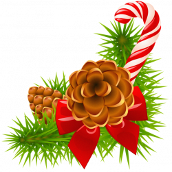 Christmas Pine Branch with Cones and Candy Cane Decor | holidays ...
