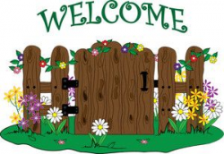 Clip art illustration of a wooden gate into a garden with flowers ...