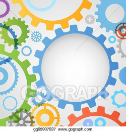 EPS Illustration - Color different gear wheels abstract ...