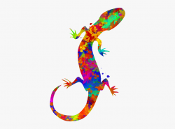 Black And White Transparent Painting Gecko - Watercolor ...