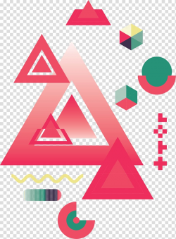 Red and green triangles and cube illustration, Geometry ...