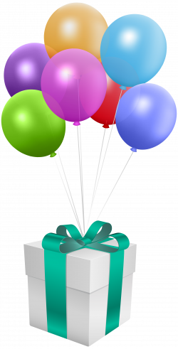 Gift with Balloons Transparent PNG Clip Art Image | Gallery ...