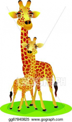 EPS Vector - Mother and baby giraffe. Stock Clipart ...