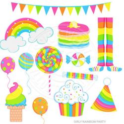 Girly Rainbow Party Cute Digital Clipart Rainbow Clip art