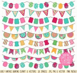 Girly Bunting Clip Art & Vectors ~ Illustrations ~ Creative Market