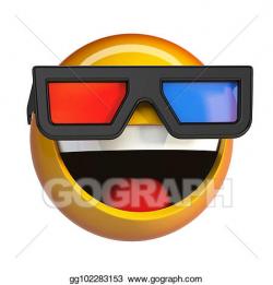 Stock Illustration - Emoji with 3d cinema glasses, emoticon ...
