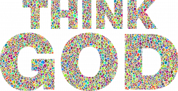 Clipart - Polyprismatic Tiles Think God Typography No Background