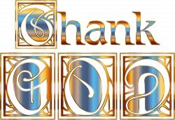 Clipart - Golden Thank GOD Typography No Background