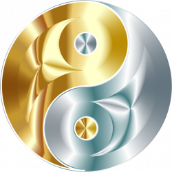 Clipart - Gold And Silver Yin Yang No Background