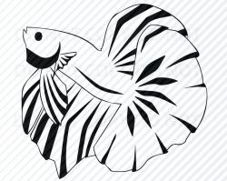 Betta Fish Svg Files Vector Images Silhouette - Goldfish Clipart SVG Image  For Cricut Stencil SVG - Eps, Png ,Dxf Clip Art For cricut