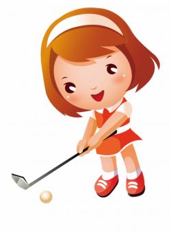 Golf Sport Clip Art Little Girl Playing Ⓒ - Cartoon Girl ...