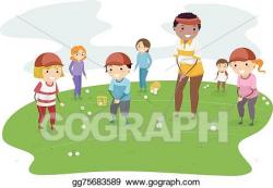 Vector Clipart - Stickman kids golf lesson. Vector ...
