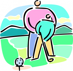 Father Gives Son Golf Lesson - Vector Image
