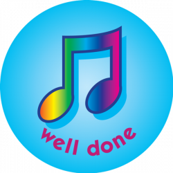 Musical Notes - well done - pack of 75 38mm reward stickers