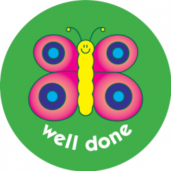 Butterfly - well done 38mm - pack of 75 38mm reward stickers
